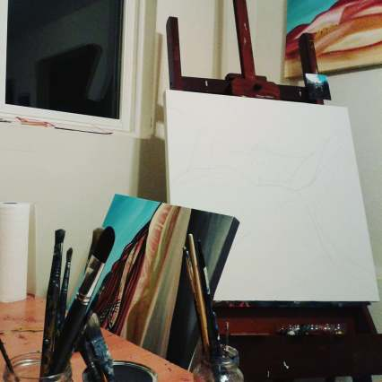 easel with drawing