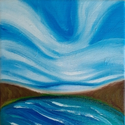 """Wild Skies, Rice Lake"" 6x6 inches, oil on canvas $60"